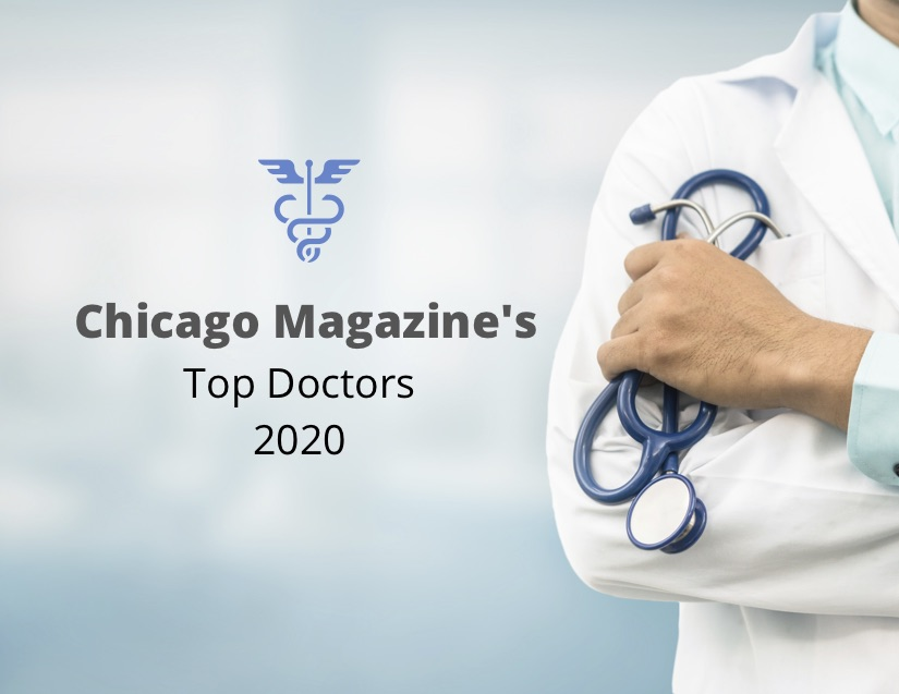 "Photo of a doctor with the text ""Chicago Magazine's Top Doctors 2020"""