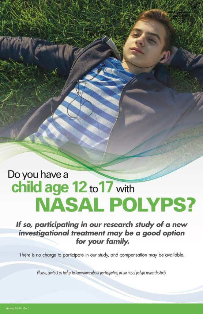 Ad for clinical study for Adolescents with Nasal Polyps