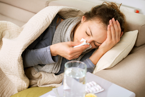 Woman suffering from a sinus infection