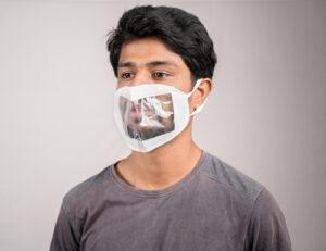 man wearing transparent mask